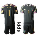 20-21 Italy Buffon #1 Black Kids Jersey