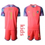20-21 Italy Buffon #1 Red Kids Jersey